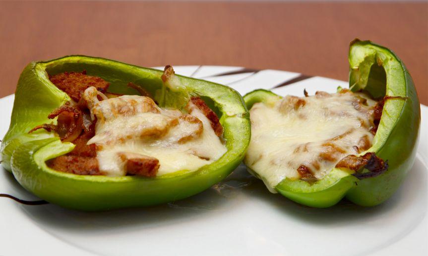 Vegetarian Green Pepper Stuffed Philly Cheesesteaks