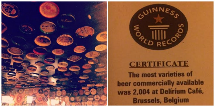 The ceiling in Delirium Cafe & their Guinness Book of World Records certificate!