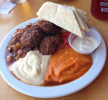 Hummus plate with falafel