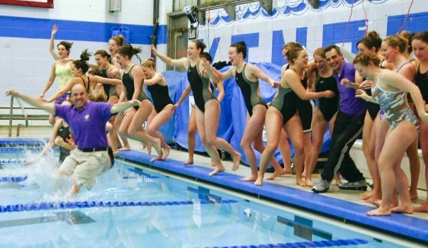 Leaping into the water after I raced for the very last time - 2008 Landmark Conference Swimming & Diving Champs!